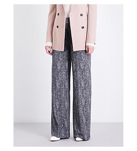THEORY Talbert herringbone-weave wide high-rise woven trousers (Black