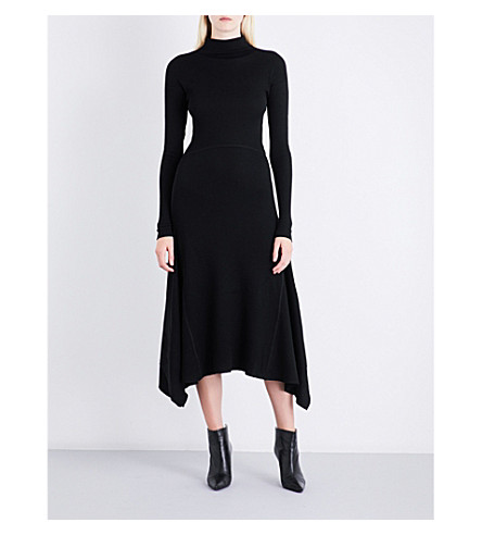 THEORY High-neck ribbed fit-and-flare wool-blend dress (Black