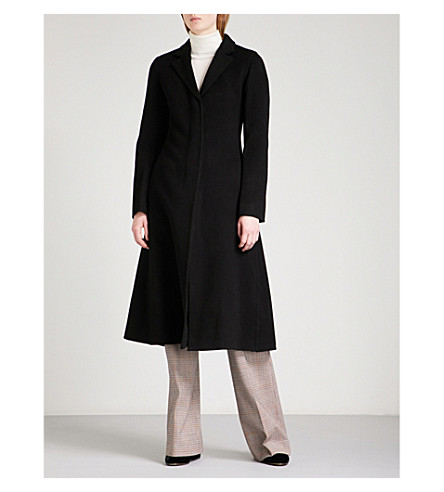 THEORY A-line wool and cashmere-blend coat (Black