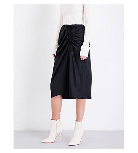THEORY Ruched stretch-silk skirt (Black