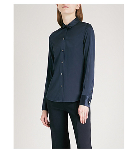 THEORY Perfect stretch-silk shirt (Deep+arctic+teal