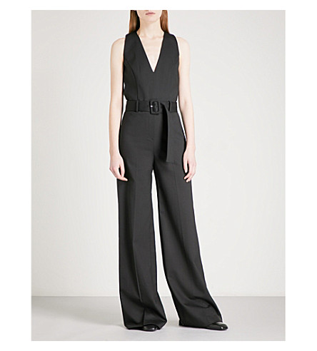THEORY Belted crepe jumpsuit (Black