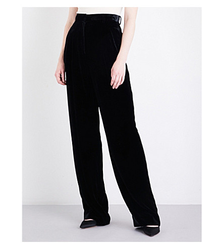 THEORY Pleated wide-leg velvet trousers (Black