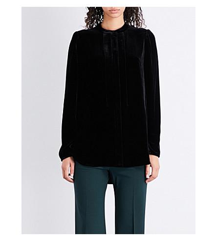 THEORY Band-collar velvet top (Black