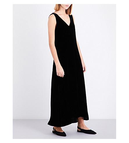THEORY V-neck velvet slip dress (Black
