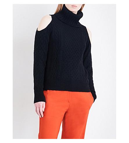 THEORY Turtleneck cold shoulder wool-blend jumper (Black
