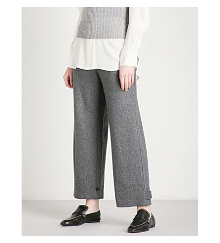 THEORY Genie straight wool-blend trousers (Dark+charcoal