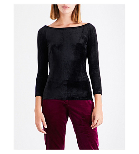 THEORY Annalyn off-the-shoulder velvet top (Black