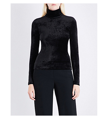 THEORY High-neck velvet top (Black