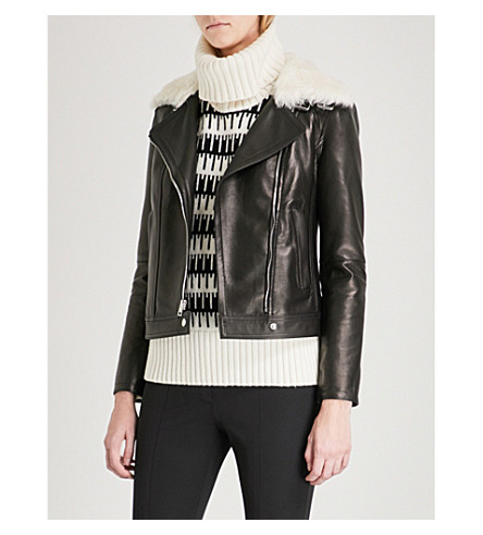 THEORY Wilmore leather jacket (Black/charcoal
