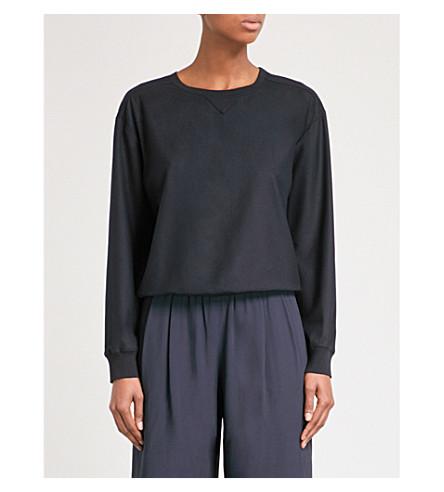 THEORY Massar wool-blend sweatshirt (Deep+navy
