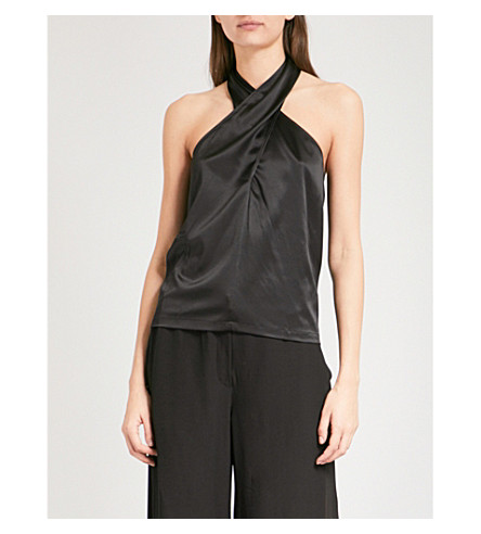 THEORY Ertil halterneck stretch-silk top (Black