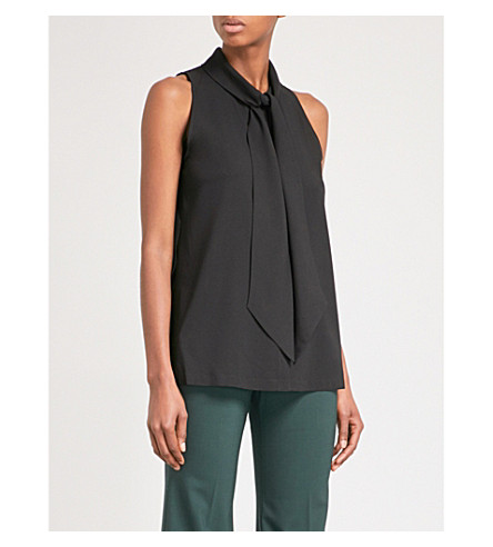 THEORY Halter sleeveless stretch-silk top (Black