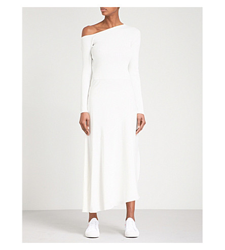 THEORY Asymmetric woven and crepe dress (Ivory