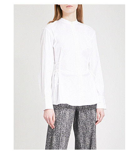 THEORY Lace-up cotton shirt (White