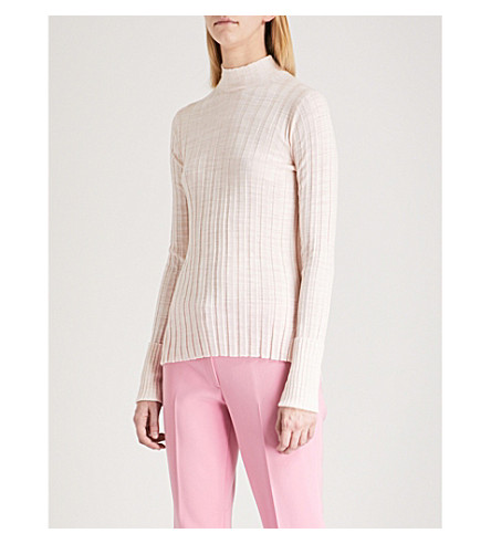 THEORY High neck ribbed-knit wool jumper (Chalk+pink/white