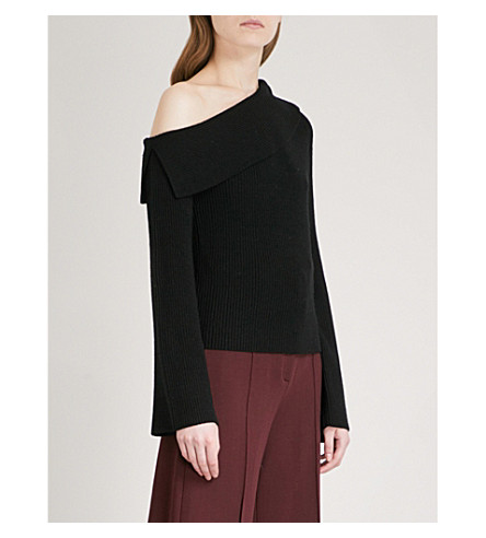 THEORY One-shoulder merino wool-blend jumper (Black/black