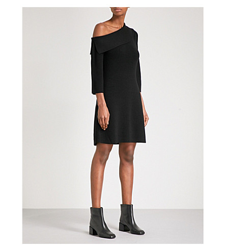 THEORY One-shoulder merino wool-blend dress (Black/black