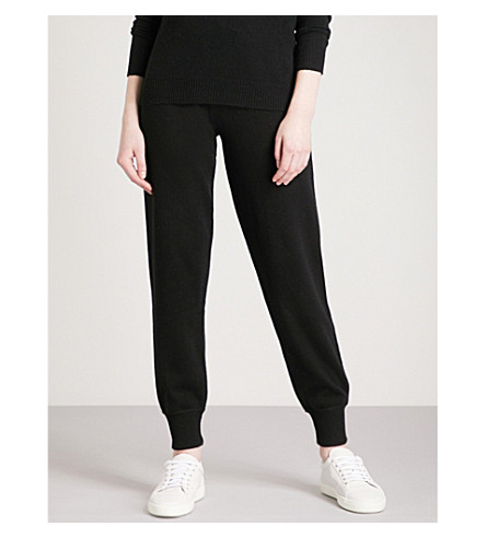 THEORY Loun tapered cashmere jogging bottoms (Black/ivory