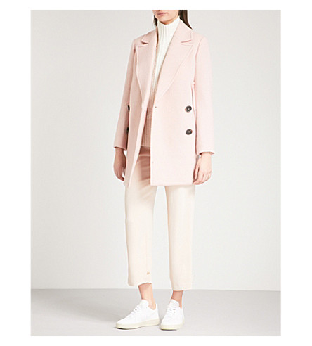 THEORY Double-breasted wool coat (Chalk+pink