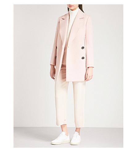 THEORY 双排胸毛大衣 (粉笔 + 粉红色