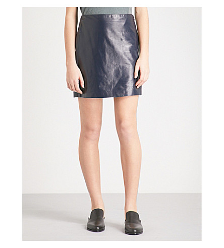 THEORY High-rise leather mini skirt (Navy