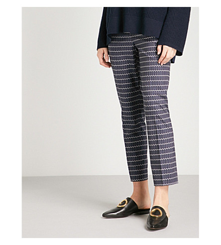 THEORY Geometric-patterned tapered crepe trousers (Navy