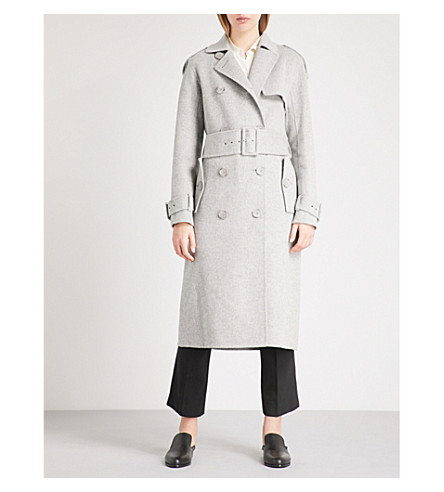 THEORY Statement double-breasted wool and cashmere-blend trench coat (Melange+grey