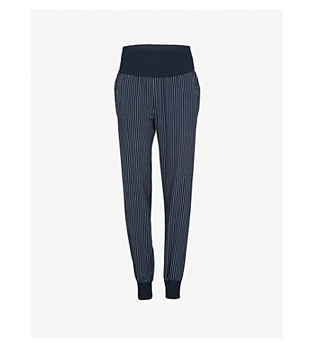 THEORY Striped relaxed-fit silk trousers (Deep+navy/ivory