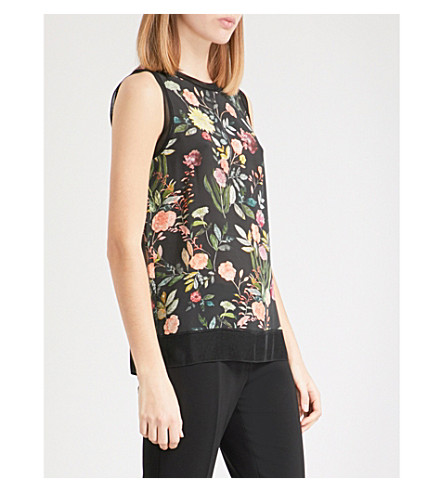 THEORY Lewie printed silk top (Black+multi