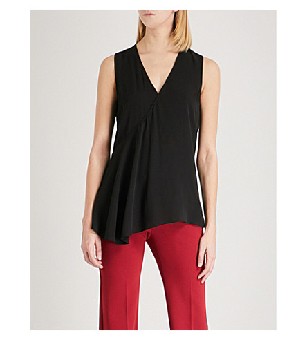 THEORY Asymmetric draped silk top (Black