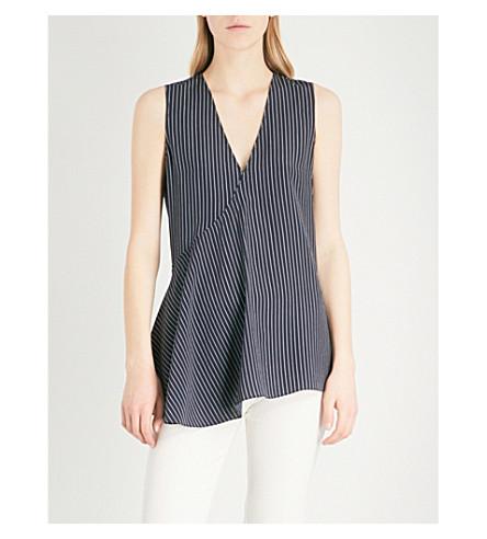 THEORY Fluid sleeveless silk top (Deep+navy/ivory