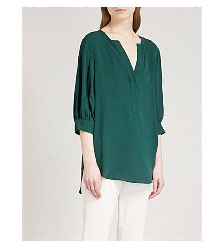 THEORY Billow silk-crepe shirt (Bright+hunter
