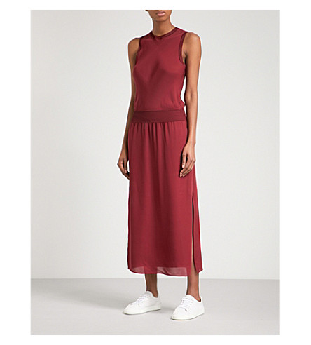 THEORY Lewie ribbed-trim crepe dress (Oxblood