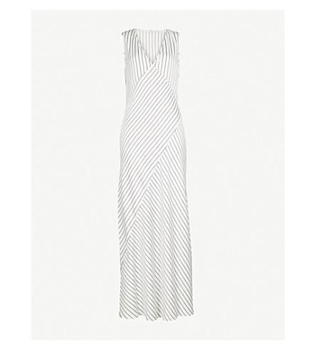 THEORY Striped satin dress (Ivory-black