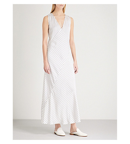 THEORY Striped satin dress (Ivory/black