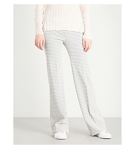 THEORY Demitria wide-leg woven trousers (Lottie+check