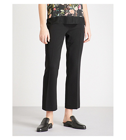 THEORY Flared slim-fit crepe trousers (Black