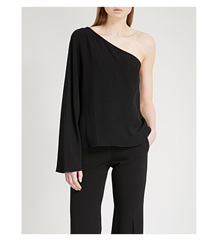 THEORY Ruza one-shoulder crepe top (Black