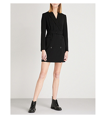 THEORY Double-breasted crepe blazer dress (Black