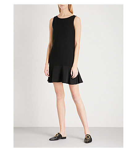 THEORY Flared-hem crepe dress (Black