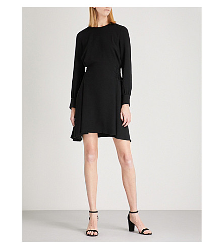 THEORY Laced-detail crepe dress (Black