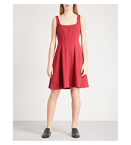 THEORY Modern Flare crepe dress (Bright+raspberry