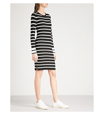 THEORY Striped knitted dress (Black+eggshell