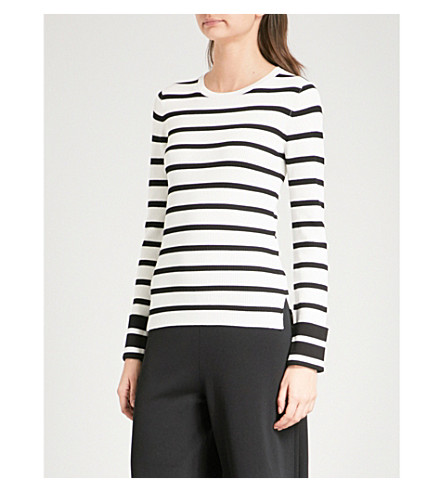 THEORY Striped knitted jumper (Eggshell/black