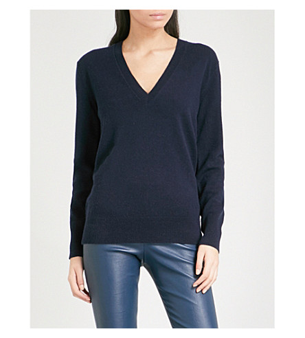 THEORY Button-sleeve V-neck cashmere jumper (Deep+navy