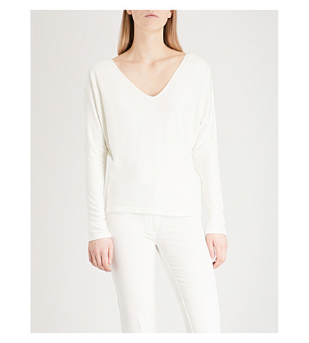 THEORY Cowl-neck jersey top (Ivory