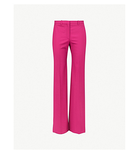 THEORY Demitria high-rise flared stretch-wool trousers (Electric pink