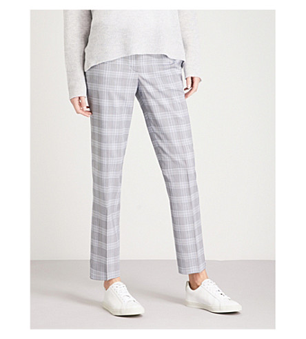 THEORY Checked straight high-rise stretch-wool trousers (Multi