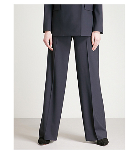 THEORY Piazza wide-leg high-rise wool trousers (Deep+navy
